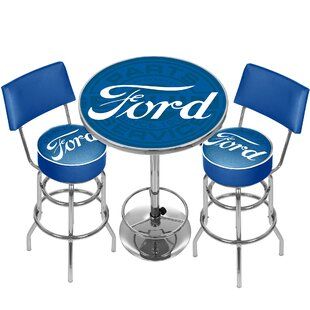 Ford Genuine Parts Game Room Combo 3 Piece Pub Table Set Trademark Global
