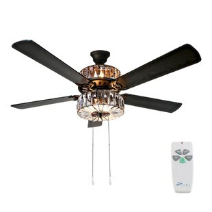 52 Njie Caged Crystal 5 Blade Ceiling Fan with Remote, Light Kit Included by Orren Ellis