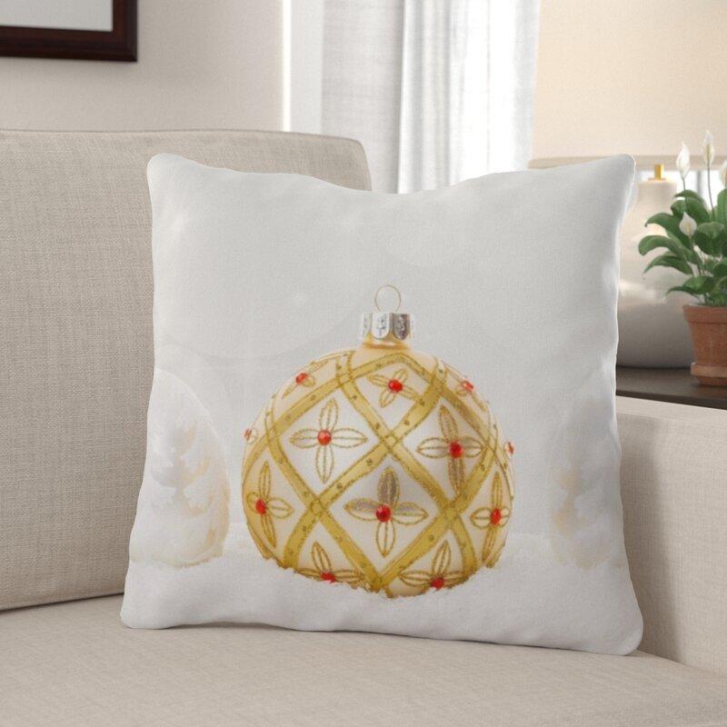 The Holiday Aisle Rishel Christmas Ball Indoor Outdoor Canvas Throw Pillow Wayfair