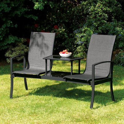 Burnstad Steel Tete-a-Tete Bench Latitude Run Color: Black