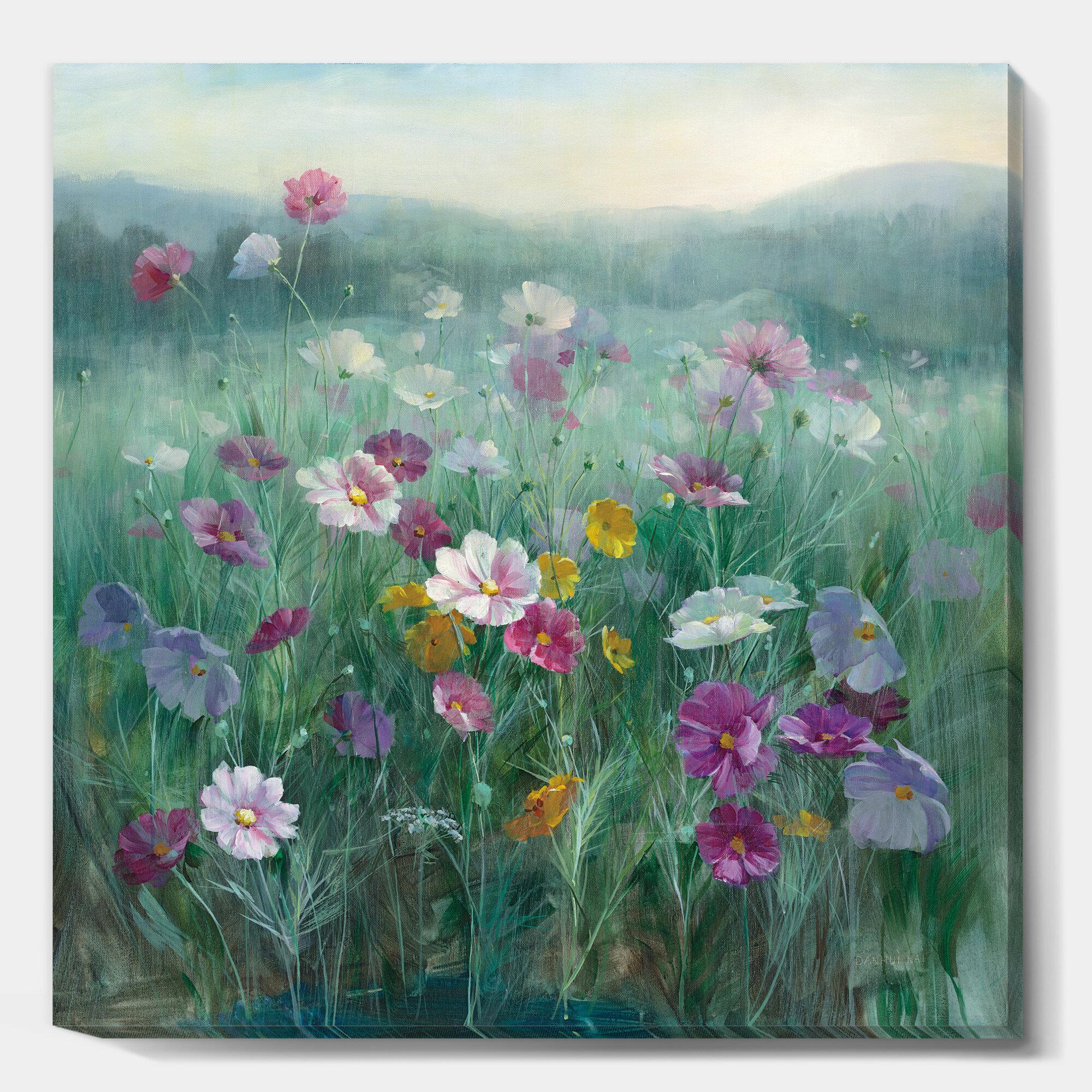 East Urban Home Flower Field Painting Print On Canvas Wayfair