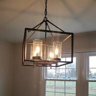 Gracie Oaks Randall 4 Light Lantern Rectangle Chandelier Reviews Wayfair