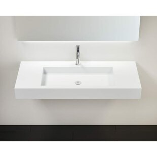 Clearance Polymarble 47 Wall Mount Bathroom Sink with Overflow By Badeloft