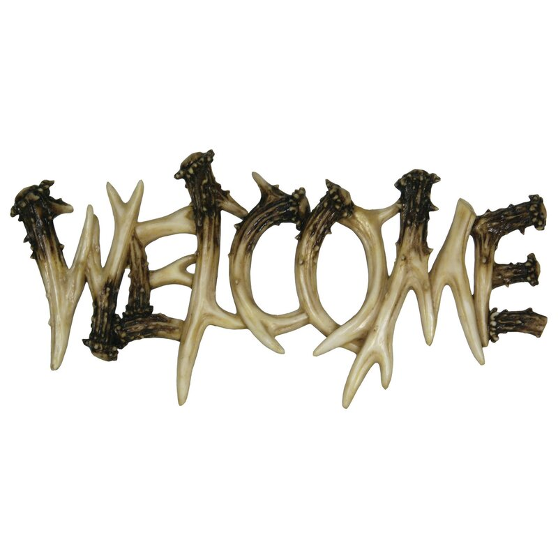 Welcome Wall Decor american expedition deer antler theme welcome plaque wall décor