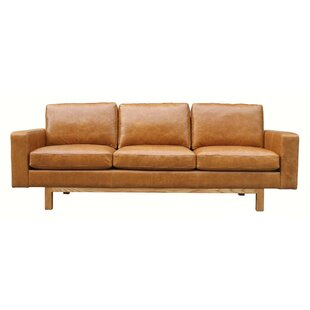 Damion Leather 3 Seater Sofa By Williston Forge