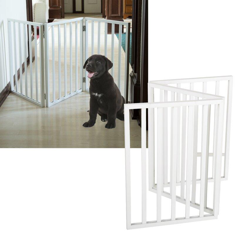 wooden pet gate free standing greta freestanding wooden pet gate tucker murphy wayfair