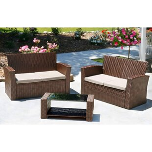 Hope 3 Piece Rattan Sofa Set with Cushions