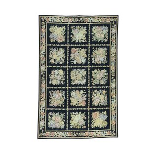 Look for One-of-a-Kind Nida Needlepoint Flat Weave Oriental Hand-Knotted Black Area Rug ByAstoria Grand