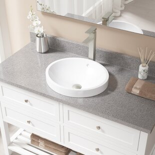 Inexpensive Vitreous China Circular Vessel Bathroom Sink with Faucet and Overflow ByMR Direct