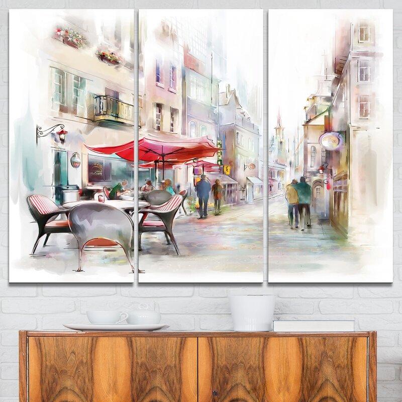 Designart Illustrated Street Art Cityscape 3 Piece Graphic Art On Wrapped Canvas Set Wayfair