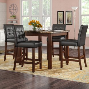 Darby Home Co Sison Faux Marble 5 Piece Counter Height Dining Set