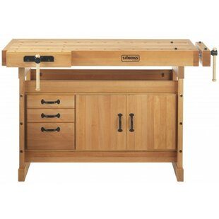 Scandi Plus 52W Wood Top Workbench with Cabinet Combo and Accessory Kit by Sjobergs