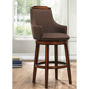 Randolph Wood/Fabric Swivel Bar Stool (Set of 2) by Loon Peak