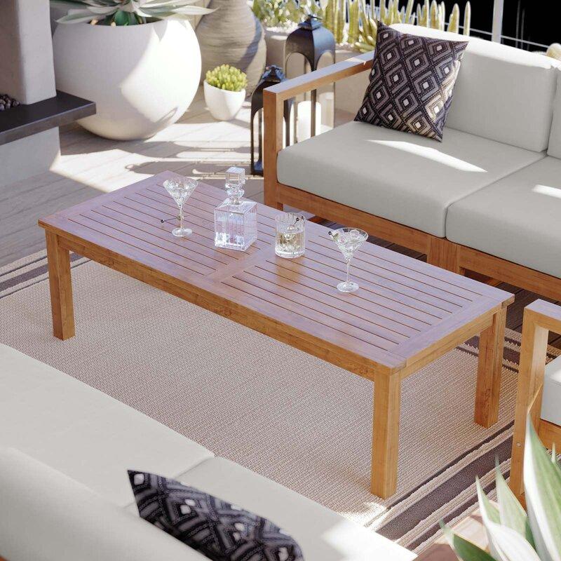 Highland Dunes Kincaid Outdoor Patio Teak Wood Coffee Table Wayfair