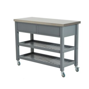 London 3 Tier Kitchen Cart with Stainless Steel Top