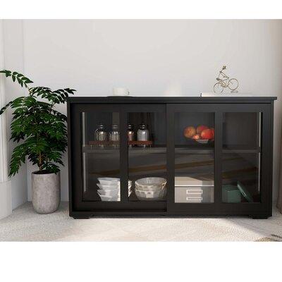 Winston Porter Kitchen Storage Stand Cupboard With Glass Door-Black