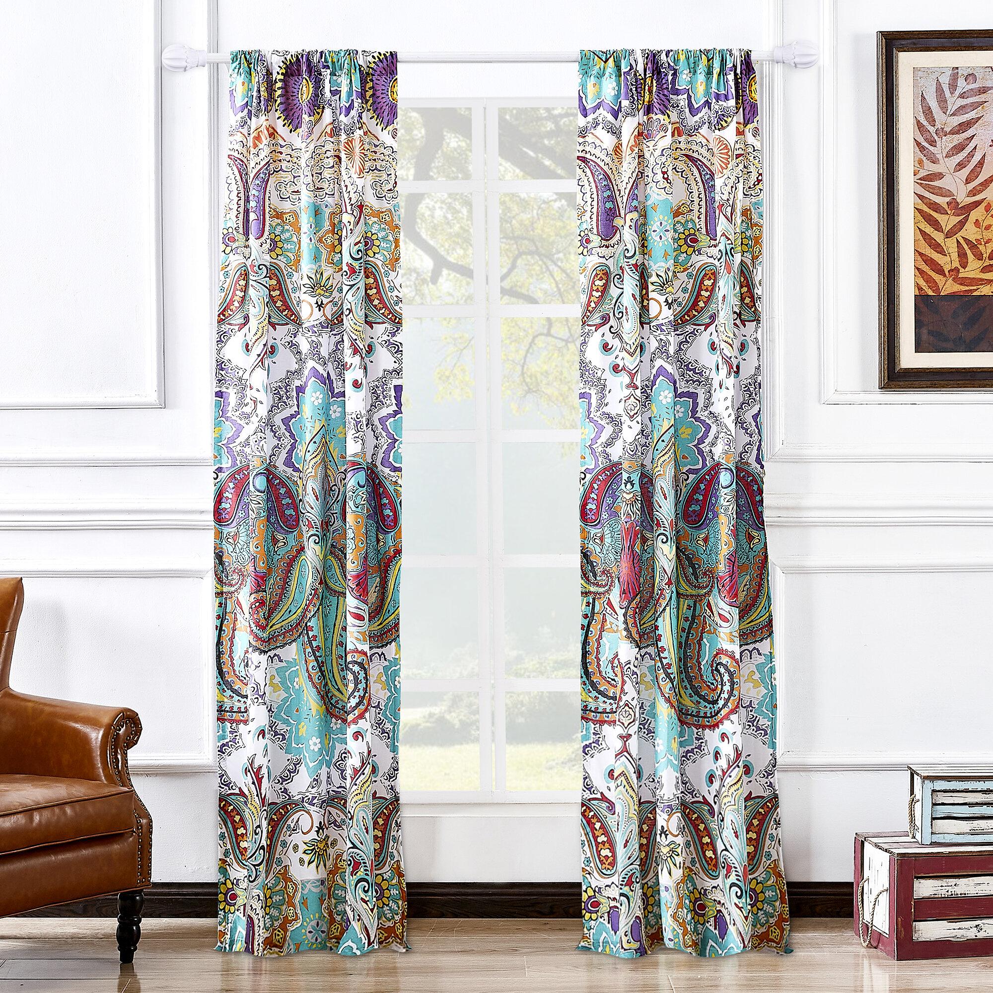 World Menagerie Roskilde Spice Paisley Semi Sheer Rod Pocket Curtain Panels Reviews Wayfair