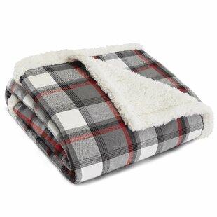 Wallace Plaid Cinder Flannel Sherpa Fleece Throw