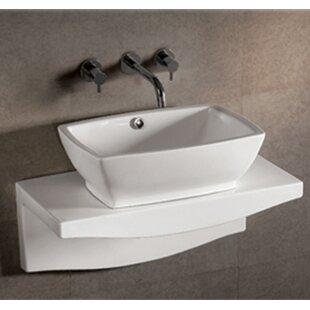 Whitehaus Collection Isabella Rectangular Vessel Bathroom Sink with Overflow
