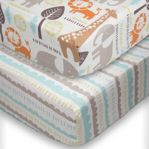 Safari Fitted Crib Sheet (Set of 2)