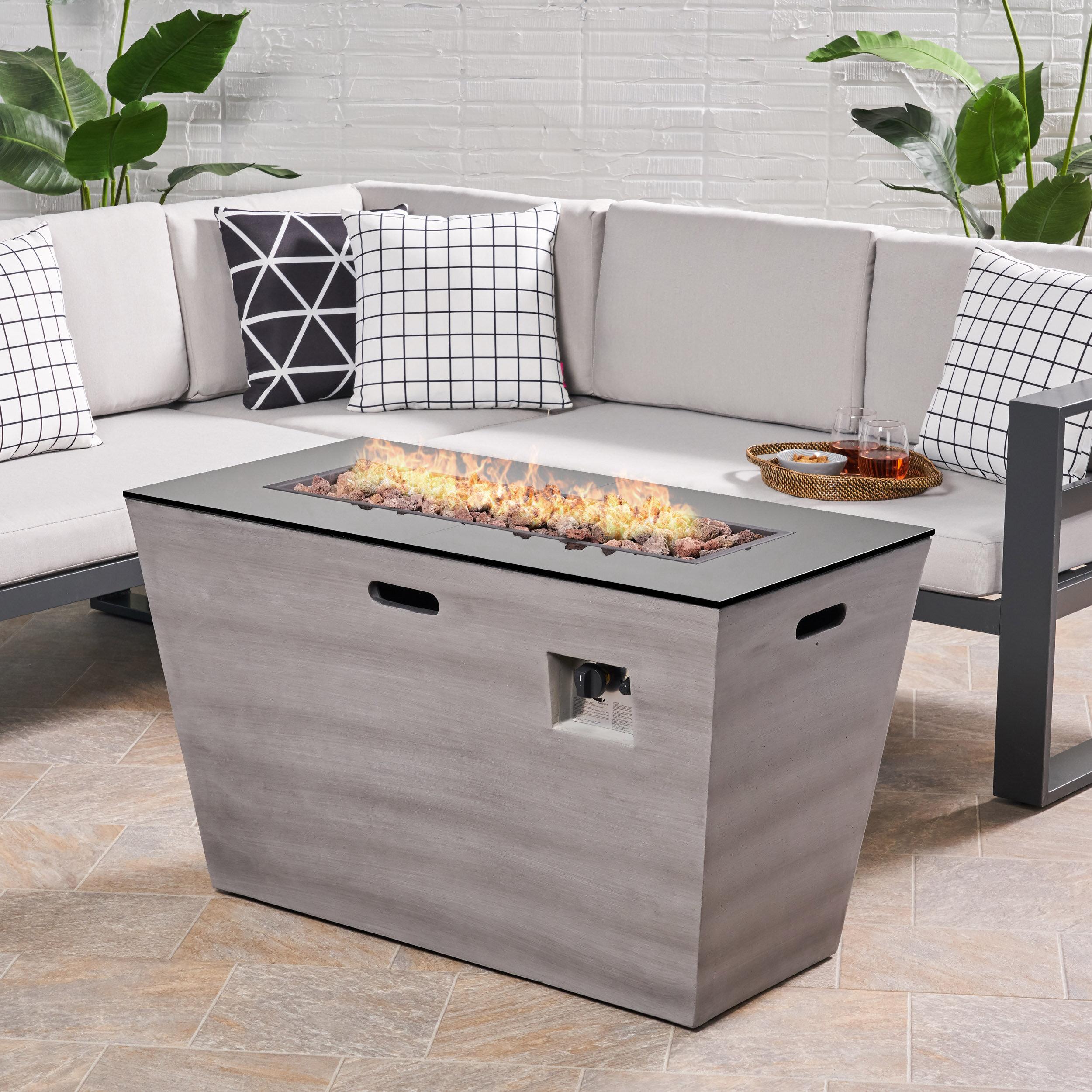 Orren Ellis Berkshire Outdoor Modern Concrete Propane Fire Pit Table Reviews Wayfair