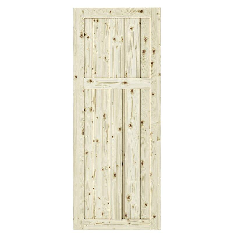 """Paneled Wood Unfinished Barn Door without Installation Hardware Kit 42/"""" x 84/"""""""