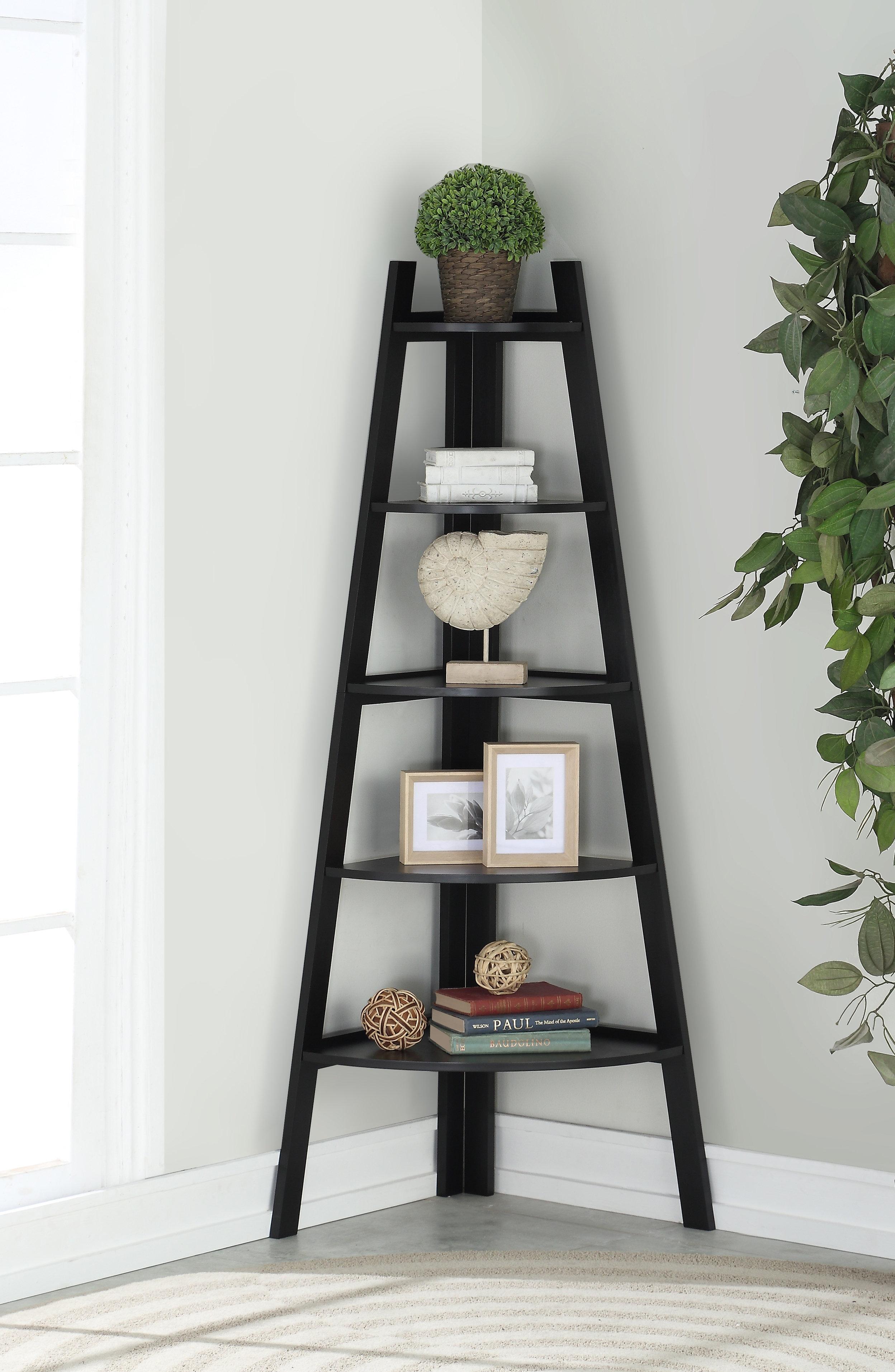 Stylish Wooden Corner Rack Wall Display 5 Shelves Bookcase Bookshelf Wood White
