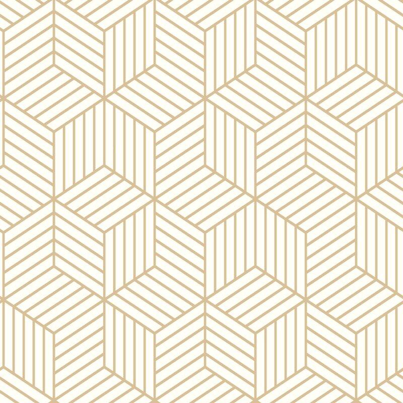 "Rumsey Striped Hexagon 16.5' L x 20.5"" W Geometric Peel and Stick Wallpaper Roll"