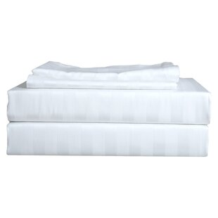 Delgadillo 250 Thread Count Striped 100% Cotton Sateen Sheet Set (Set of 4)