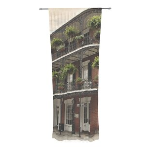 Sylvia Cook New Orleans Street Corner Decorative Graphic Print Text Sheer Rod Pocket Curtain Panels Set Of 2