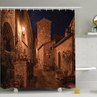 Best Reviews Rustic Medieval Town Street Shower Curtain Set By Ambesonne