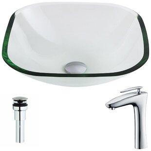 ANZZI Cadenza Glass Circular Vessel Bathroom Sink with Faucet