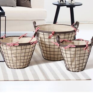 Read Reviews 3 Piece Bucket Shaped Urban Style Basket Set By Adeco Trading