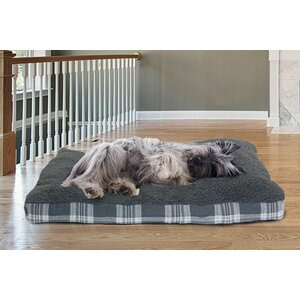 Faux Sheepskin and Plaid Deluxe Dog Pillow