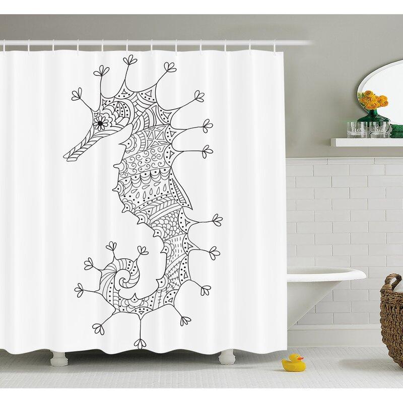 Animal Seahorse Mediterranean Culture Roman Poseidon God Heraldic Magical Artsy Sign Shower Curtain Set