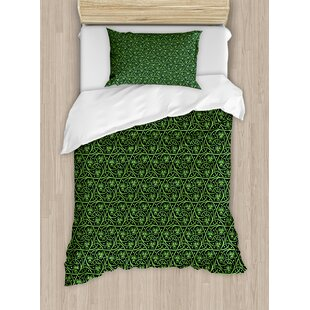 Irish National Foliage Pattern Intricate Twigs and Dots Trefoil Botanical Abstraction Lime Duvet Set by Ambesonne