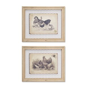 Framed Rooster And Chicken Wall Decor (Set Of 2)