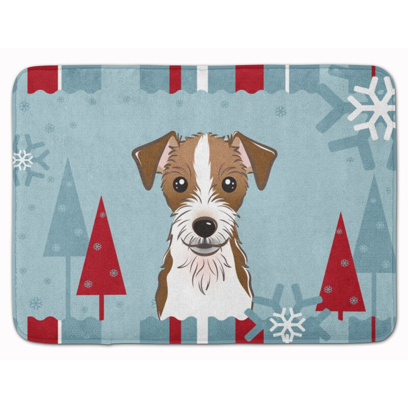 East Urban Home Winter Holiday Jack Russell Terrier Rectangle Microfiber Non Slip Bath Rug Wayfair