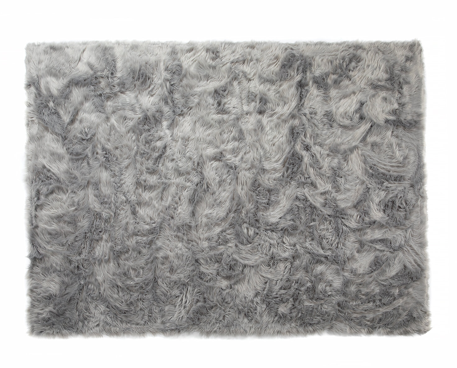 Soft Faux Fur Sheepskin Gray Area Rug