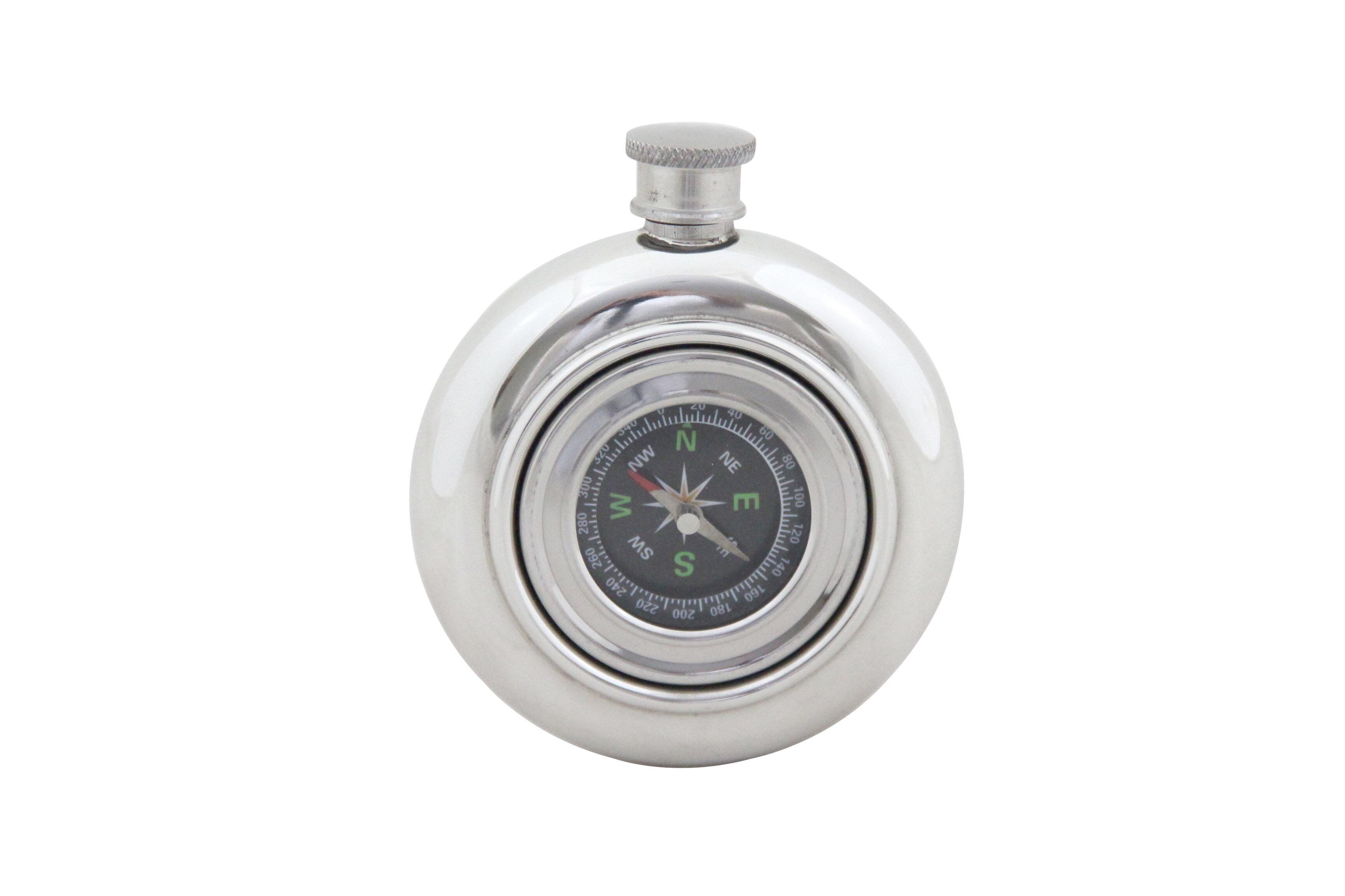 Corbell Silver Company Compass Flask Wayfair