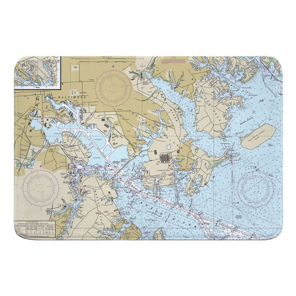 Breakwater Bay Nautical Chart Approaches To Baltimore Harbor Md Rectangle Memory Foam Non Slip Bath Rug Wayfair