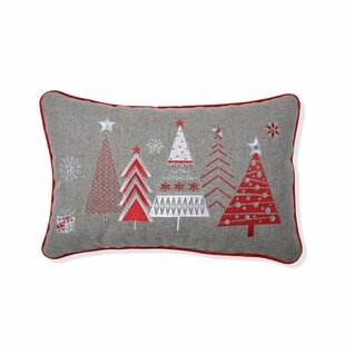 Smallwood Christmas Star Topped Trees Lumbar Pillow