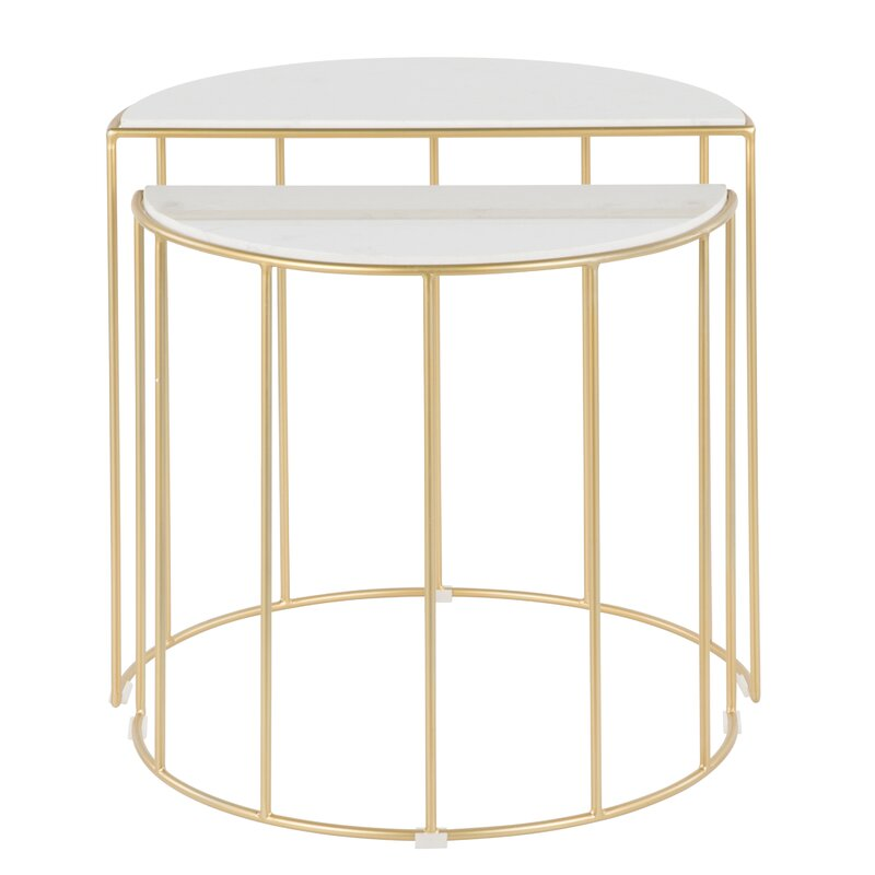 Everly Quinn  Lystra 2 Piece Nesting Tables Color: White Gold