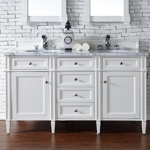 Deleon 60 Double Cottage White Granite Top Bathroom Vanity Set by Darby Home Co