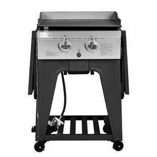 2 Burner Flat Top Propane Gas Grill With Side Table