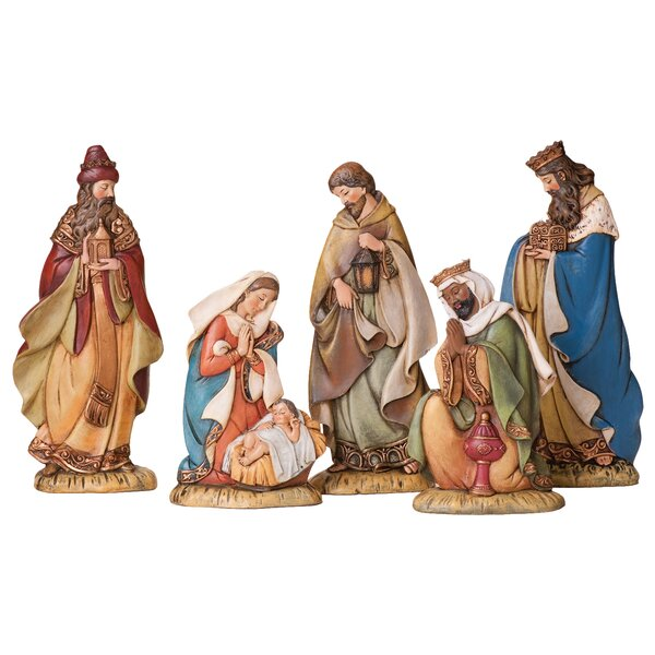 Manger Miniature Nativity Scene Set with 2 Inches Resin Figurines 5 Inches x 6 Inches
