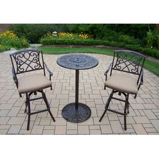 Fleur De Lis Living Ericka 3 Piece Bar Height Dining Set with Cushions