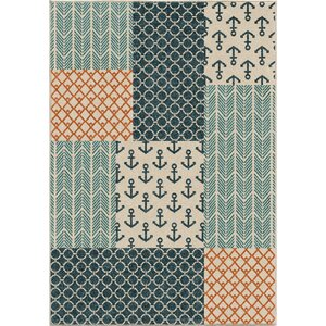 Portwood Patchwork Azo Blue/Cream/Coral Indoor/Outdoor Area Rug