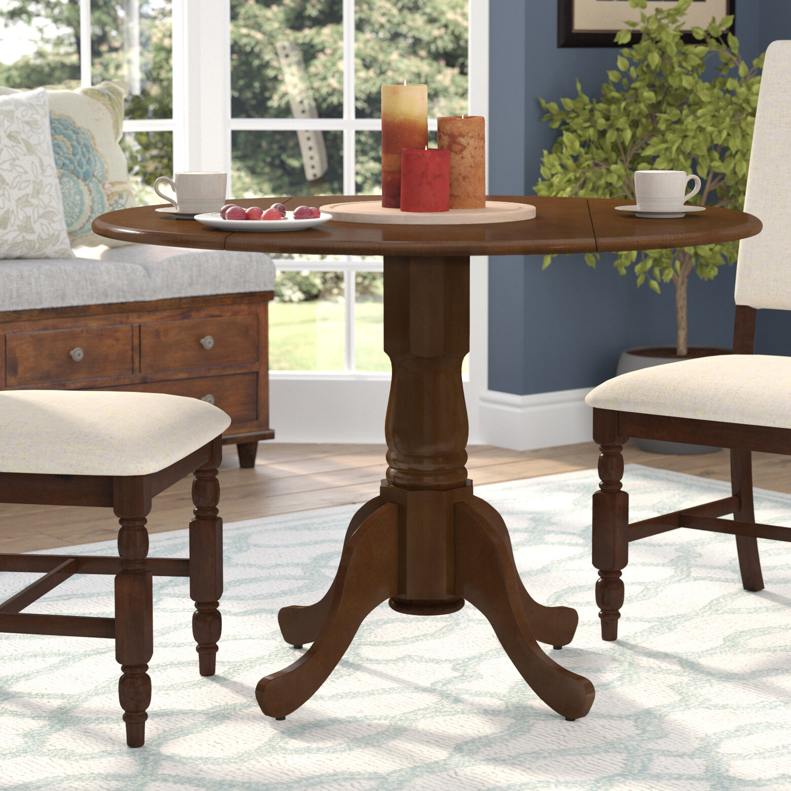 August Grove Spruill Drop Leaf Solid Wood Rubberwood Dining Table Reviews Wayfair