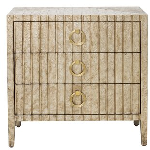 Mercer41 Brinsmead Traditional Stamped Ornate Metal 3 Drawers Accent Chest